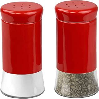 Home Basics Essence Collection Salt and Pepper Shaker Set, Red
