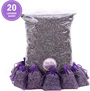 June Fox Fragrant Lavender Buds Dried Lavender Sachets Drawers Freshener Home Fragrance, 1/2 Pound & 20 Sachet Bags
