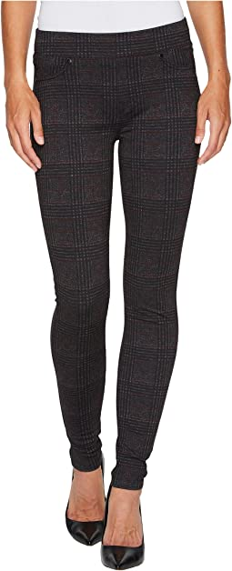 Liverpool - Sienna Pull-On Leggings in Glenn Windowpane Soft Ponte Knit in Red/Black