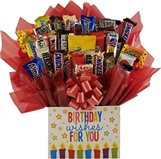 Birthday Wishes Chocolate Candy Bouquet gift basket box - Great gift for Birthday or any occasion for family, friends or b...