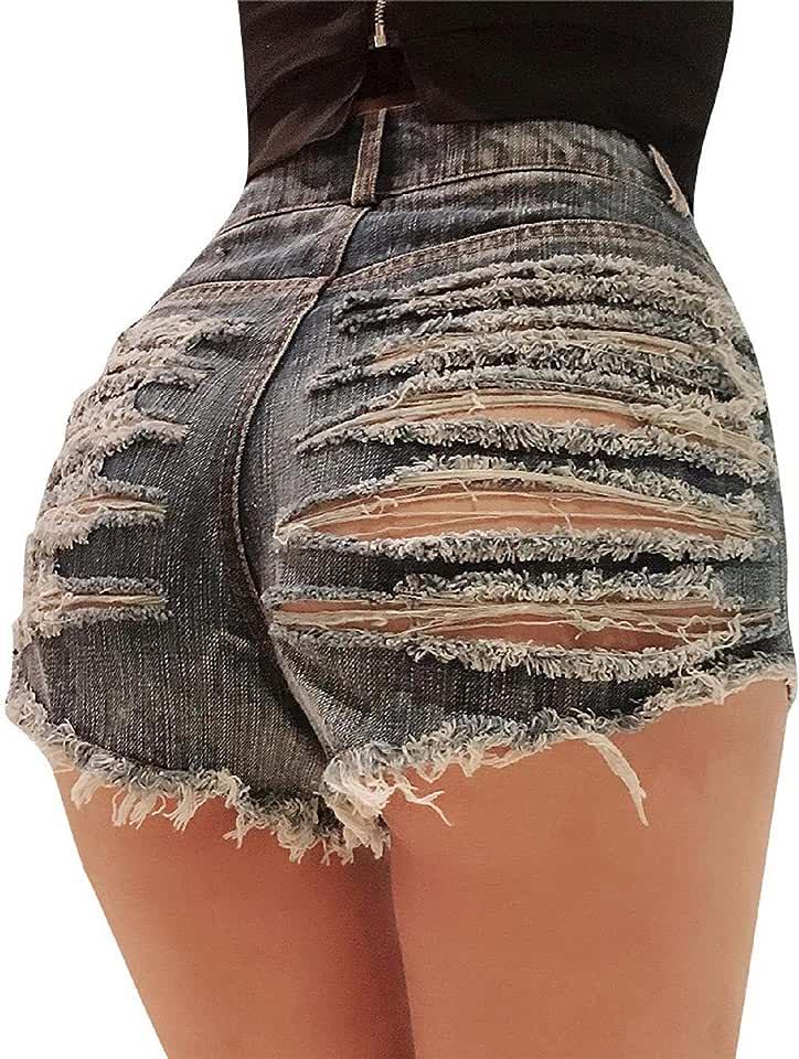 SNOWSONG Women Sexy Ripped Cut Out Denim Jean Shorts Distressed High Waist Destroy Panties Shorts
