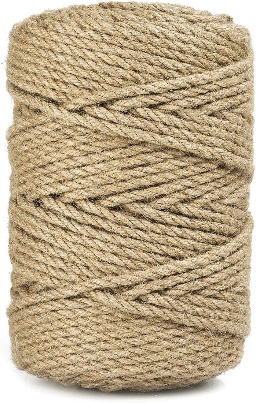 328 Feet 5mm Jute Twine, Heavy Duty Jute Rope, Natural Hemp Rope for DIY Arts Crafts, Gardening, Bundling,Home Decorating, Cat Scratching Post