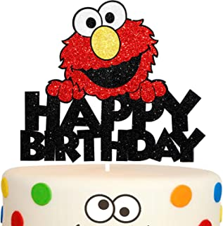 Happy Birthday Elmo Cake Topper Red Glitter Cartoon Party Decor Perfect for Baby Shower Child Birthday Party Supplies Decorations
