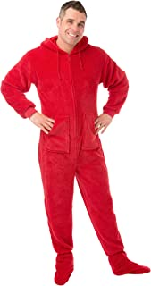 Hoodie Footed Onesie Red Plush DropSeat Footed Pajamas with Butt Flap
