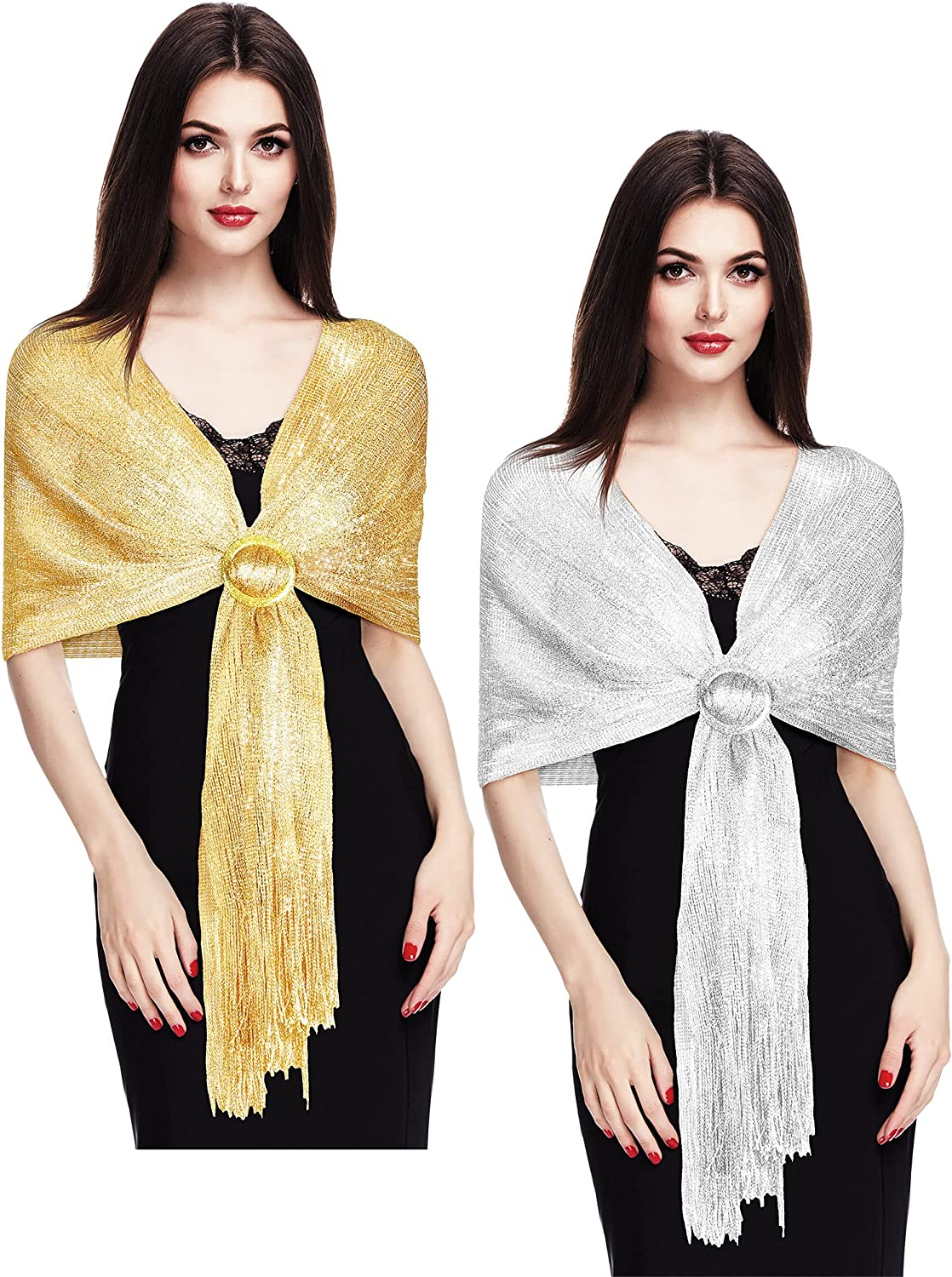 2 Pieces Women's Metallic Shawl Inexpensive Glitter Evening Popular product D Wrap Party for