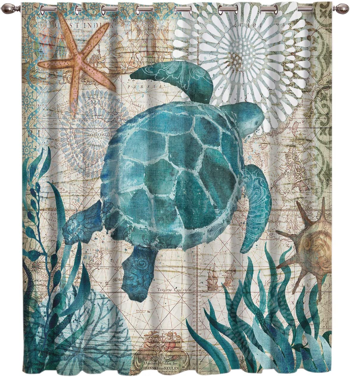 Same day shipping Fahome Watercolor Ocean High material Animals Sea Wildlife Turtle Durabl Theme