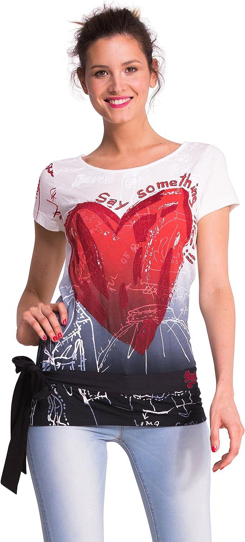 Desigual Women's Terix Woman Manufacturer regenerated product T-Shirt Short Knitted Super-cheap Sleeve