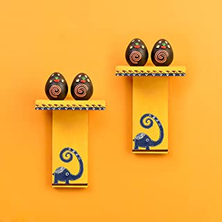Aakriti Art Creations Happy Elephant Yellow Wall Décor Shelves (SO2) with Brown Terracotta Miniatures (5.5x3.5x8)