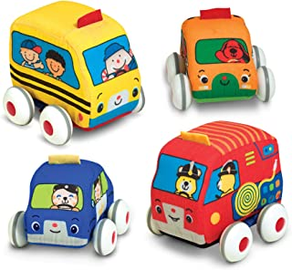 Melissa & Doug Pull-Back Vehicles – The Original (4 Soft Cars and Trucks and..
