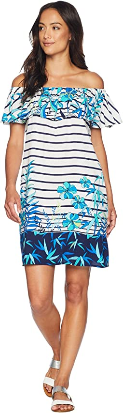 Tropical Engineered Over the Shoulder Ruffle Dress Cover-Up