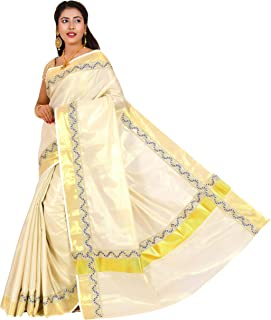 JISB Women's Kerala tissue Cotton Saree with Fancy Lace Work. Saree with running blouse piece, 6.25 mtrs