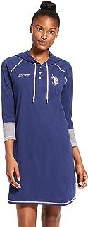U.S. Polo Assn. Womens Flannel Cotton Plaid Button Down Dormshirt Pajamas