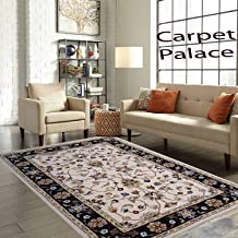 Carpet Palace Handmade Modern Superfine Pure Wool Carpet for Living Room,Bedroom,Daining Room and Hall 180X275Cms 6 Feet by 9 Feet Ivory & Black Color