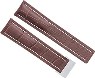 22MM LEATHER WATCH BAND STRAP DEPLOYMENT CLASP BUCKLE FOR BREITLING BROWN WS