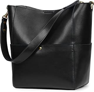 Women Vintage Genuine Leather Bucket Tote Shoulder Bag Hobo Handbag Purse