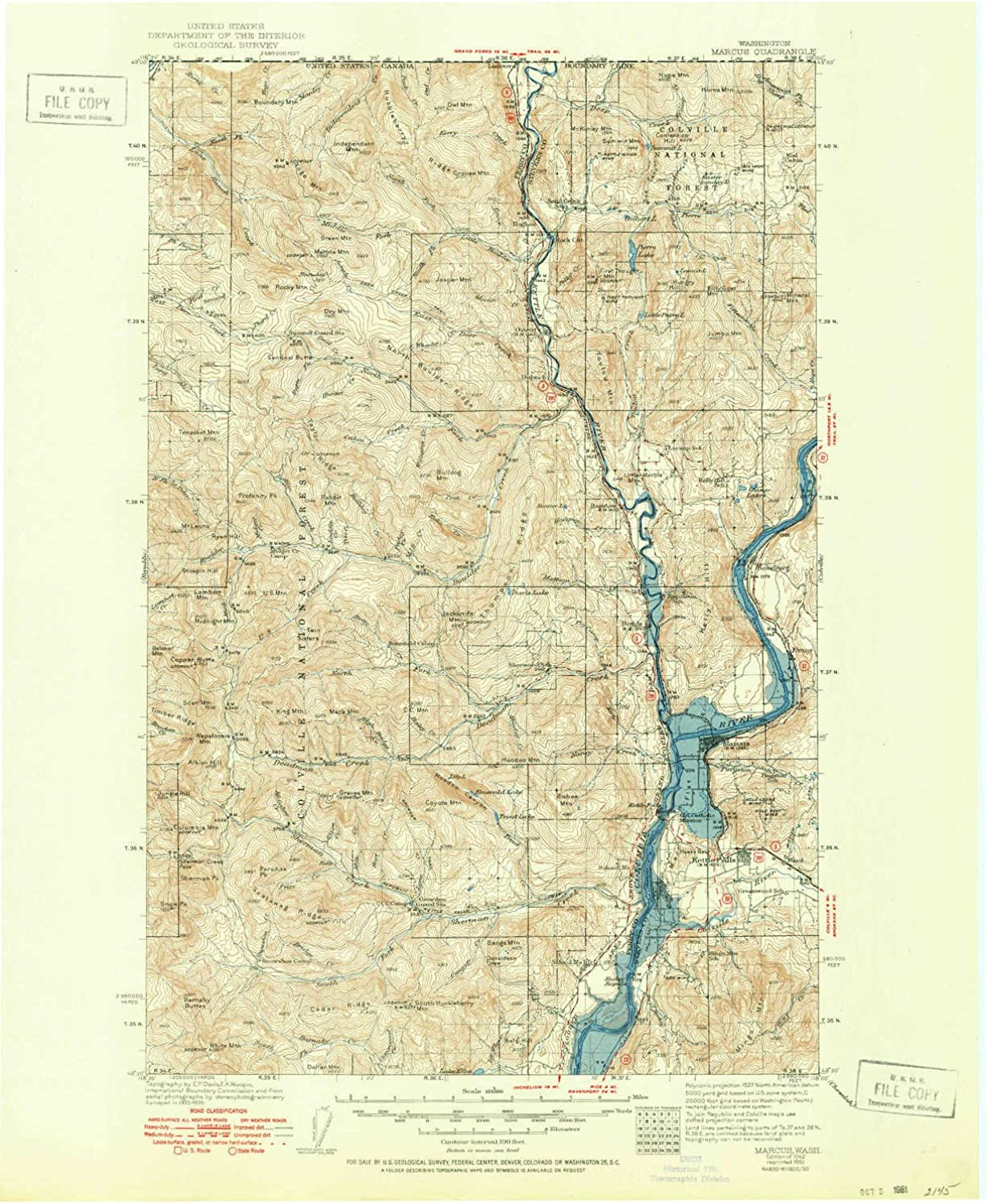 Marcus WA topo map, 1 125000 Scale, 30 X 30 Minute, Historical, 1942, Updated 1951, 21 x 17.1 in