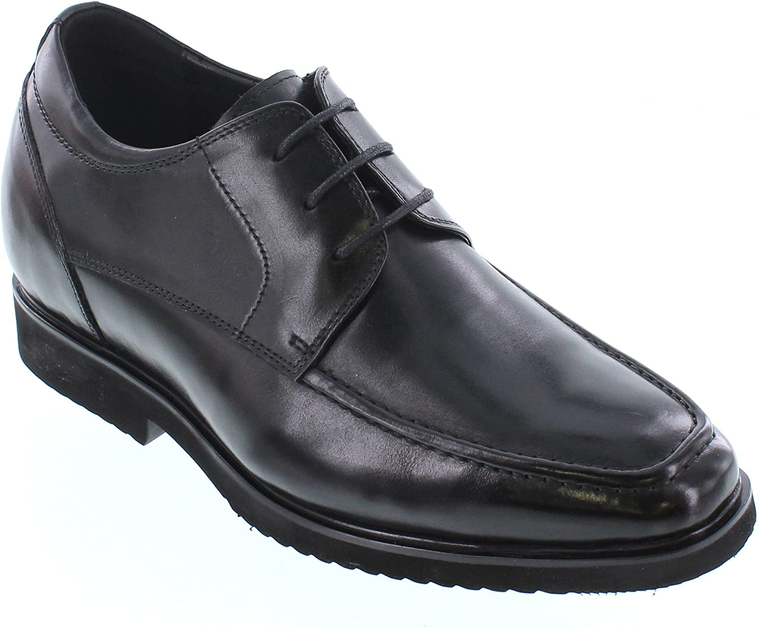 CALTO Men's Invisible Height Increasing Elevator Shoes - Black Premium Leather Lace-up Lightweight Formal Derby Oxfords - 2.8 Inches Taller - T54012