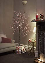 JayMark 7ft (210cm) Pre Lit LED Christmas Tree Snowy Effect Brown with Berries for Indoor & Outdoor Use
