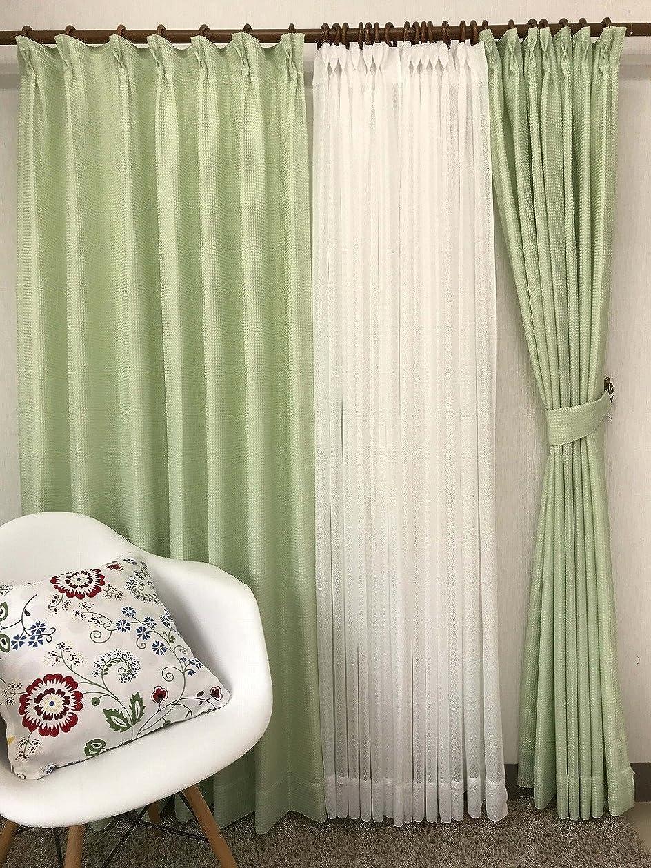 弱まるバインド暴力的な品番2657 4枚組カーテン (巾100cmx丈178cm 4枚組, グリーン)