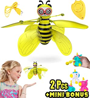 Akargol Magically Hand Controlled Flying Fairy Bee - Best Gift for Girls and Boys Ages 4-10+ , Rechargeable, Remote Control - Outdoor and Indoor Kids Toys(+2 Mini Unicorn)