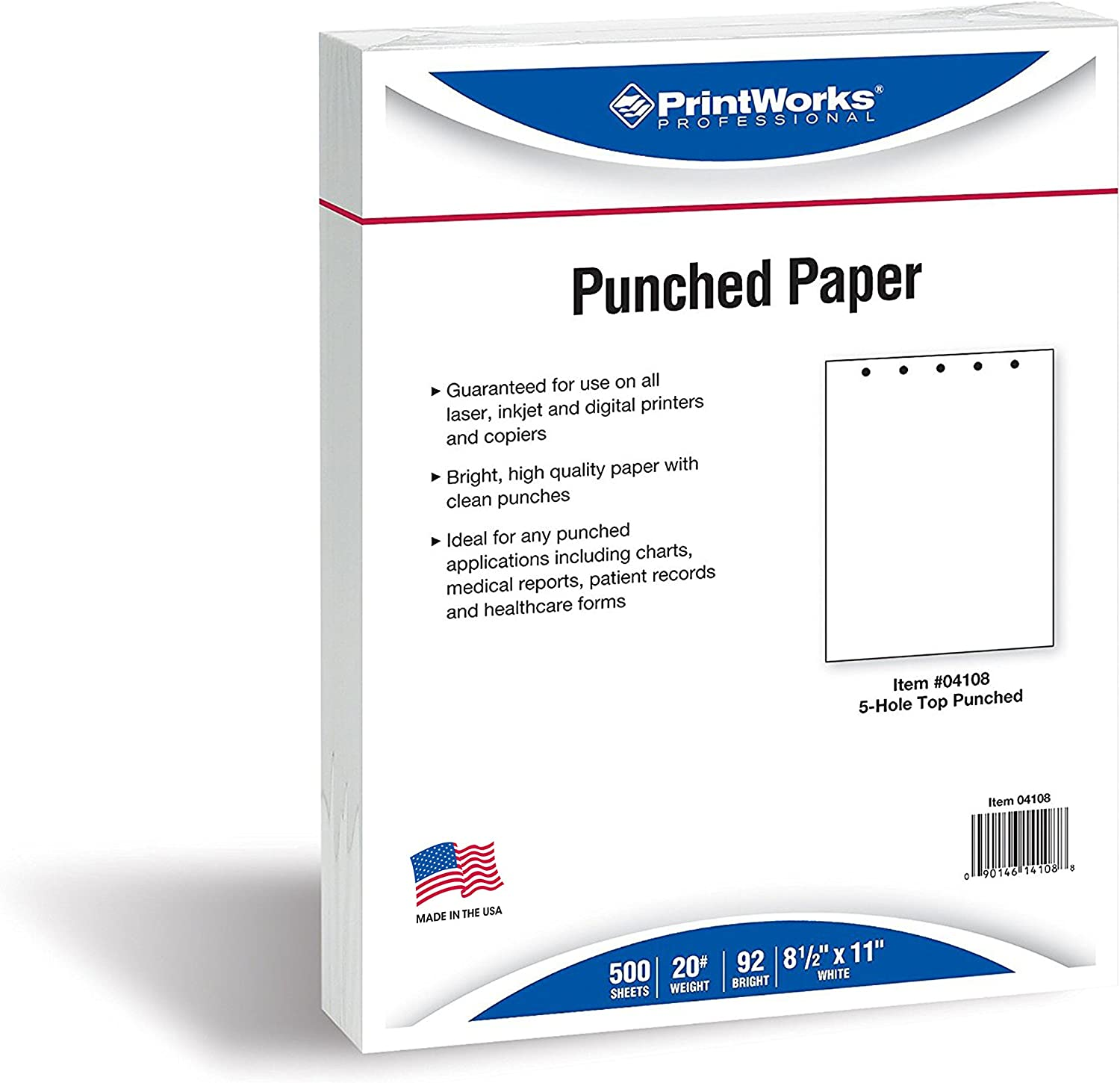 Printworks Professionelle Papier 5-Hole Top Punched weiß B0017D9MMQ | Internationale Wahl