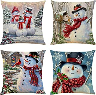 Christmas Throw Pillow Cover Set of 4 Holiday Decor Pillowcase Cushion Cover Square Decorative Pillow Cover for Sofa Couch Bed and Car, 18
