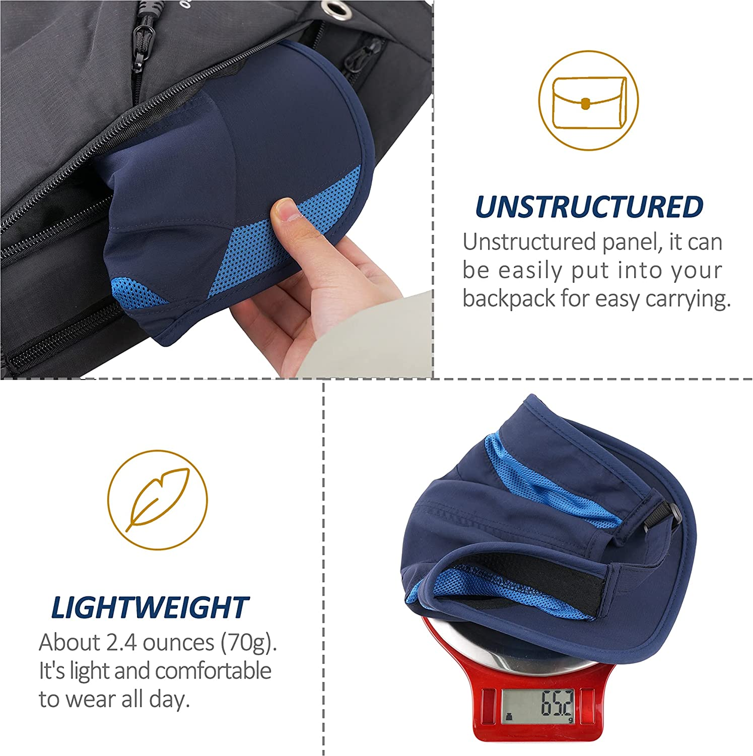 TITECOUGO Unstructured Quick Dry Hat Sun Protective Outdoor Running Sports Cap Unisex for 21 7/8