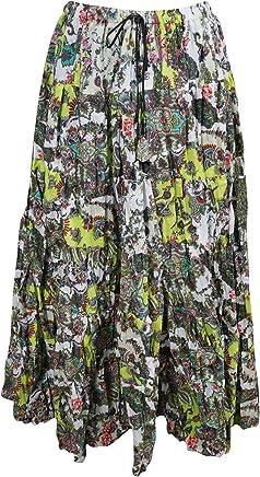Mogul Interior Womens Festive Skirt Green Printed Flare Crinkle Boho Maxi Skirts