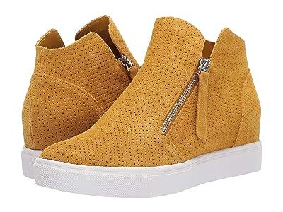 Steve Madden Caliber Wedge Sneaker (Mustard Suede) Women