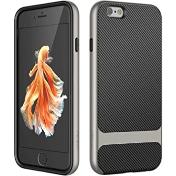JETech Case for iPhone 6s and iPhone 6, Slim Protective Cover with Shock-Absorption, Carbon Fiber Design (Grey)