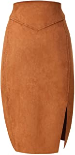 Bellivera Women's Faux Suede Pencil Skirt Hip Wrapped Back Split for Spring Summer and Autumn