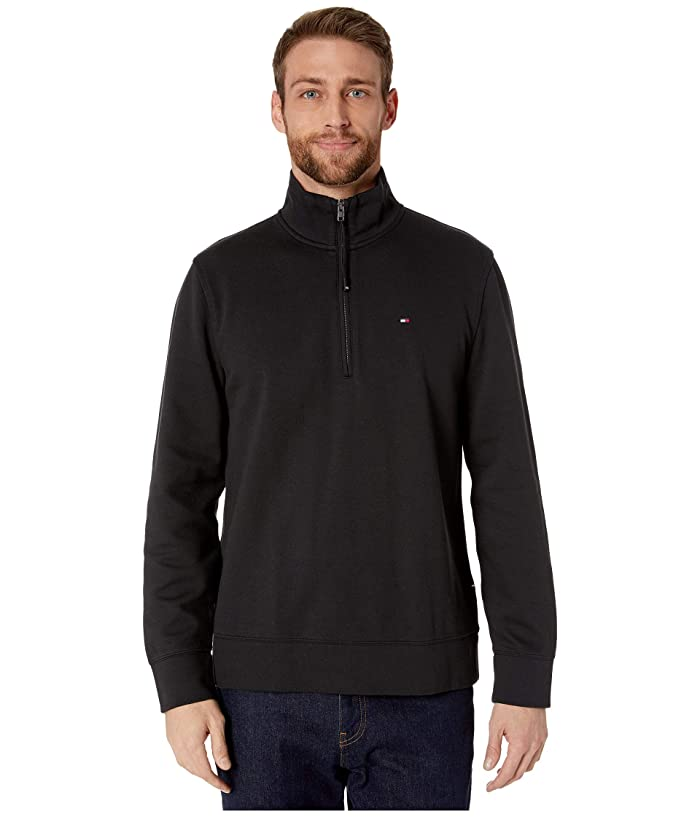 Tommy Hilfiger Adaptive  Mock Neck with Extended Half Zipper Pull (Jet Black) Mens Clothing