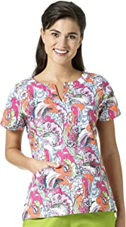Signature Collection Women's Linda Notch Neck Print Scrub Top