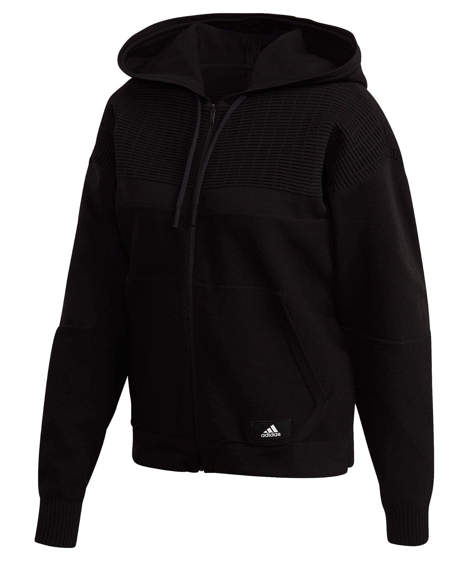 adidas Damen W Knit V Hoodie Sweatshirt, Black, S