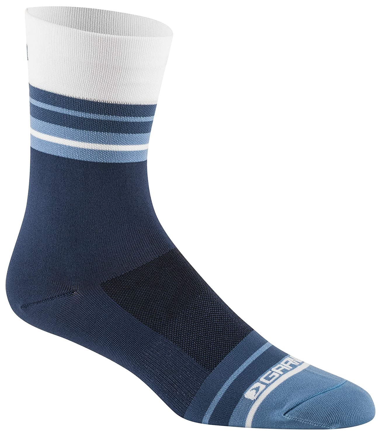 Louis Garneau Conti Long Performance Cycling Socks for Men and Women, Black/Navy/Blue, Small/Medium