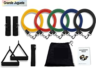 Grande Juguete Resistance Band Set, 5 Stackable Exercise Bands with Waterproof Carrying Case, Door Anchor Attachment, Legs Ankle Straps & Guide eBook for Training, Physical Therapy, Home Workout