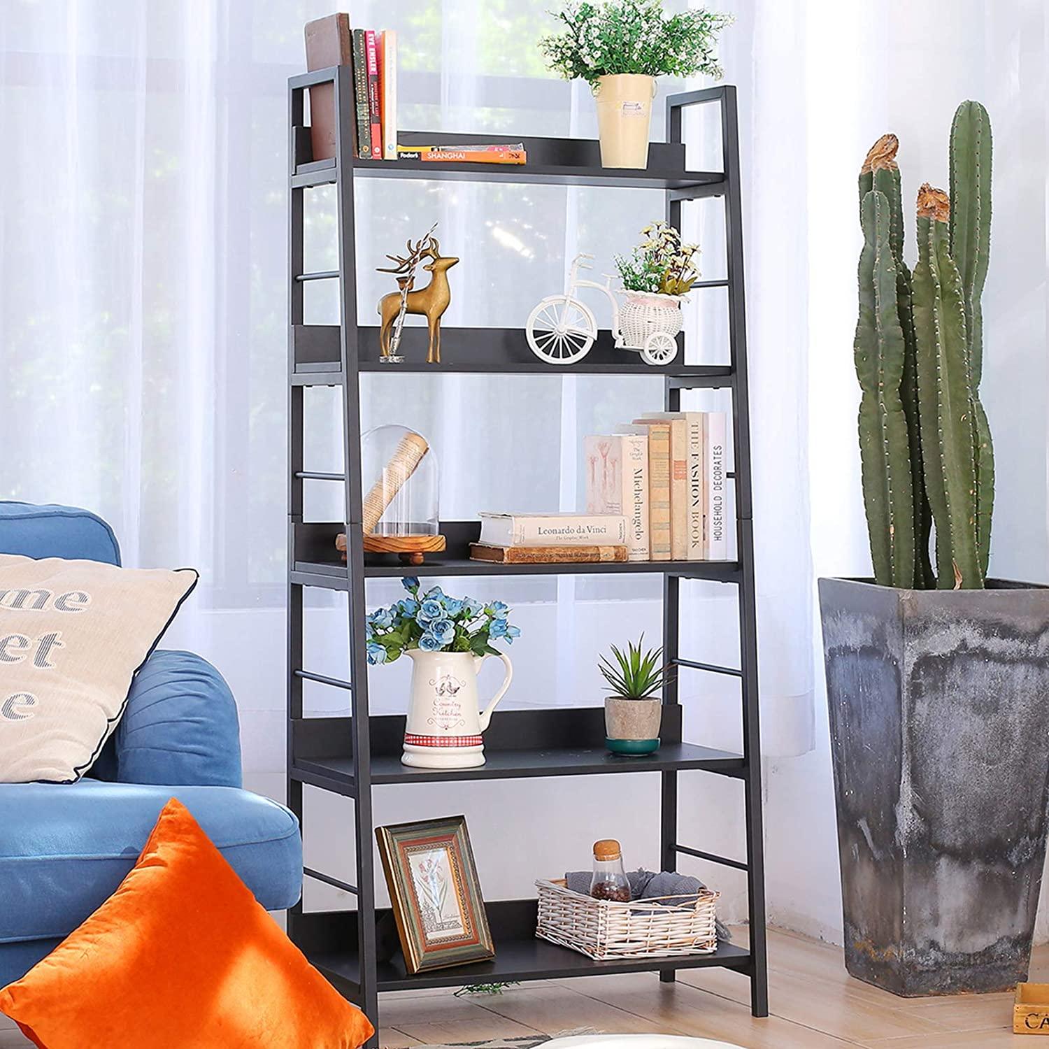 Ranking outlet TOP20 BATHWA Industrial 5-Tier Ladder Bookshelf Metal Wood and Bookcas