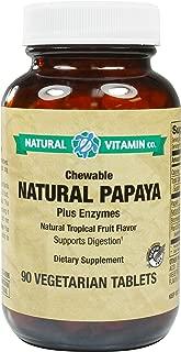 Natural Vitamin Co. - Chewable Natural Papaya Enzymes, Natural Tropical Fruit Flavor, Plant Enzyme Blend, 90 Tablets, 45 Servings, Gluten Free, Vegetarian, Vegan