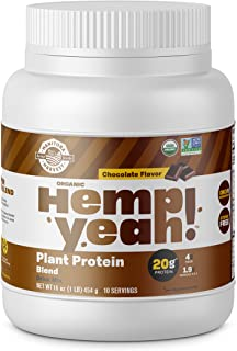 Manitoba Harvest Hemp Yeah! Organic Plant-Based Protein Powder, Chocolate, 16oz; with 20g of Protein, 4g of Fiber & 1.9g Omegas 3&6 Per Serving, Preservative Free, Non-GMO