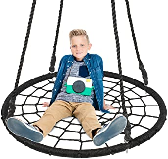 Blue Rope Swing Kids Swing Seat Strong Disc Swing for Outdoor Backyard Playground for 3-10 Years Kids Children GOTOTOP Tree Swing Max Load 150KG 43x14x4cm