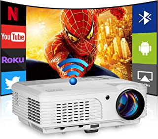 Wireless WiFi Projector with Bluetooth,4400 Lumen LED Projector Support 1080p Movie Zoom HDMI USB VGA,Smart Android Projec...