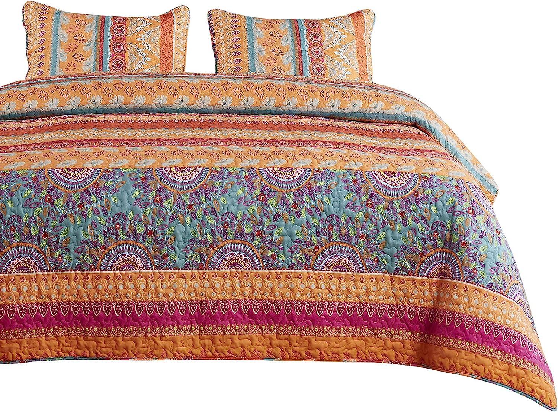 5 ☆ popular Wake In Cloud - Bohemian Soldering Quilt and Set Green Boho Coral Orange