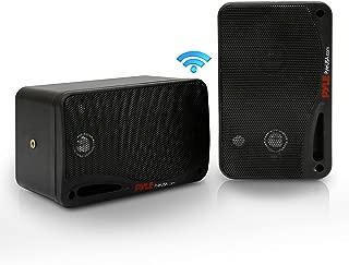 Outdoor Waterproof Wireless Bluetooth Speaker - 3.5 Inch Pair 3-Way Active Passive Weatherproof Wall, Ceiling Mount Dual Speakers System w/Heavy Duty Grill, Patio, Indoor Use - Pyle PDWR42BBT (Black)