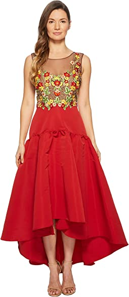 Sleeveless High-Low Embroidered Bodice w/ High-Density Silk Faille Skirt