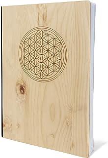 Anteckningsbok med träomslag i A5 – BLUME DES LEBENS – anteckningsbok av äkta trä för att skriva in cirkulärt trä trä trä ...
