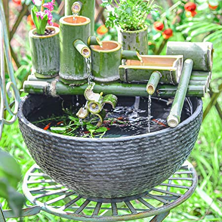 """Sungmor Hydroponic Planter Large Garden Bowl Micro Landscape Succulent Pot - 15.6"""" Diameter 0.5"""" Thickened Big Water Lily Container - Resin Marble Texture Functional Mini Fish Pond Fountain Bird Bath"""