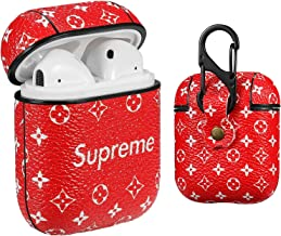 Gift-Hero Compatible with Airpods 1/2 Case,Cute 3D Luxury Leather Shockproof Cover Designer Skin Keychain,Cool Fun Funny Fashion Design Stylish Case for Girls Women Ladies Teens Air pods(Red Supre)
