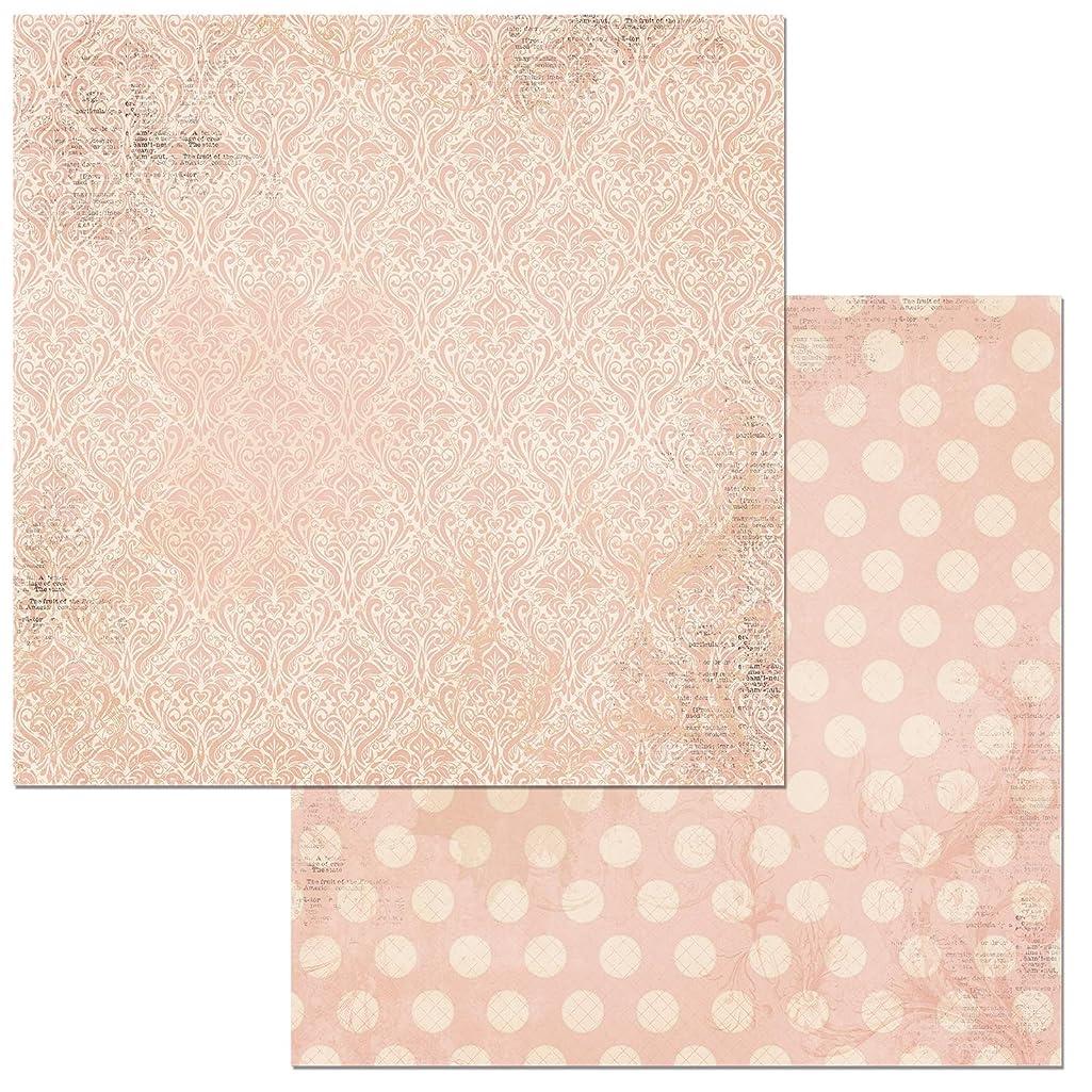 Bo Bunny Dusty Rose Double Dot Damask Scrapbooking Paper, 12