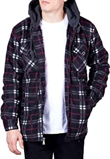 Visive Mens Flannel Hoodie Jackets for Men Zip Up Fleece Sherpa Lined Shirt
