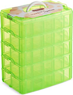 LifeSmart USA Stackable Storage Container Green 50 Adjustable Compartments Compatible with Lego Dimensions LOL Surprise Littlest Pet Shop Arts and Crafts and More (5 Tier)